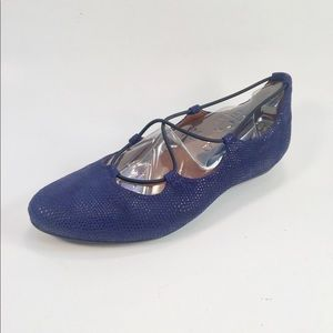 Earthies Navy Suede Ballet Loafers